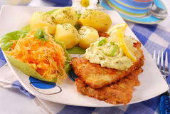 Breaded fish for dinner. Breaded fish with potato and salad of sauerkraut for dinner Stock Photography