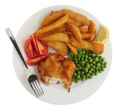 Breaded fish fillet meal from above Royalty Free Stock Photo