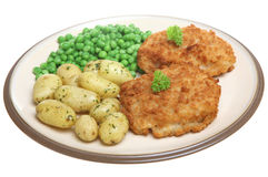 Breaded Fish Fillets with New Potatoes Royalty Free Stock Photo