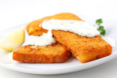 Breaded fish flilet Stock Photos