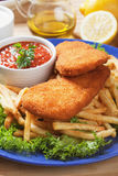 Breaded fish and french fries Royalty Free Stock Photo