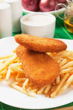 Breaded fish and french fries Royalty Free Stock Image