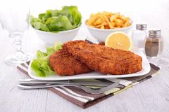 Breaded fish and fries Stock Image