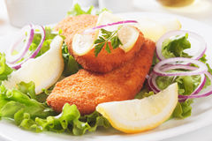 Breaded fish and lettuce Stock Image