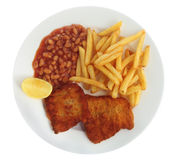 Breaded fish meal from above Stock Image