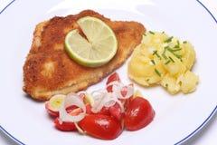 Breaded fish and potato salad Stock Image
