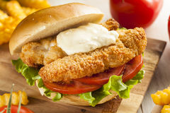 Breaded Fish Sandwich with Tartar Sauce. And Fries stock photos