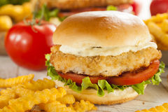 Breaded Fish Sandwich with Tartar Sauce Royalty Free Stock Photo