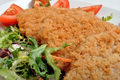 Breaded fish steak with salad on a plate Royalty Free Stock Photo