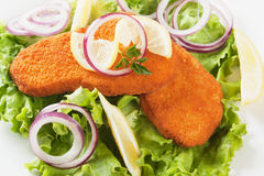 Breaded fish steaks with lemon and lettuce Stock Photography