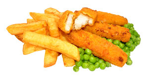 Breaded Fish Sticks And Chips Meal Stock Photo