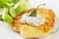 Breaded Fish. With tartare sauce and a caperberry, served with salad. Homemade food royalty free stock photography