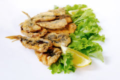 Breaded and fried anchovies Stock Photography
