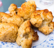 Breaded and fried a cauliflower Royalty Free Stock Image