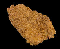 Breaded fried fish with bread and isolated on the black background with clipping path Royalty Free Stock Image