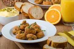 Breaded fried mushrooms with juice Royalty Free Stock Photos