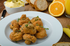 Breaded fried mushrooms with juice. Breaded mushrooms fried with fresh orange juice and homemade tartar sauce Stock Photography