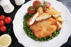 Breaded kurczaka stek Zdjęcia Stock