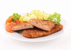 Breaded meat and vegetables Royalty Free Stock Image