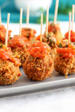 Breaded Mozzarella Cheese Balls - Party Appetizers Stock Image