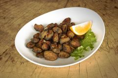 Breaded mussels w białym talerzu na drewnianym tle zdjęcie royalty free