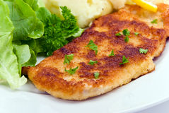 Breaded pork chop with lettuce Stock Photo
