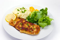 Breaded Pork Chop With Lettuce Stock Image