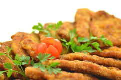Breaded pork chops on a plate Royalty Free Stock Image