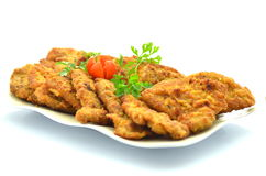 Breaded pork chops on a plate Stock Photo