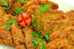 Breaded pork chops on a plate Royalty Free Stock Photography