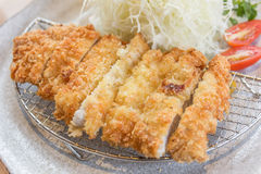 Breaded pork cutlet, japanese food style tonkatsu Royalty Free Stock Photos