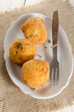Breaded potato balls with thyme Royalty Free Stock Image