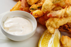 Breaded Prawns - King prawns coated in plain and spicy breadcrumbs and deep-fried Stock Photos