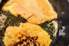Breaded schnitzel Stock Images