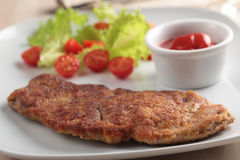 Breaded schnitzel with vegetables Stock Photography