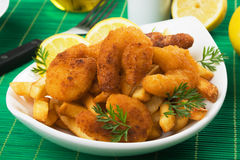 Breaded shrimp sanck with french fries Stock Image