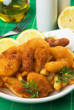 Breaded shrimp snack with french fries Royalty Free Stock Photography