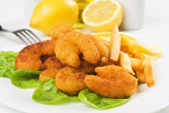 Breaded shrimp snack with french fries Royalty Free Stock Photo