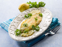 Breaded sole fish with parsley Royalty Free Stock Image