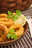 Breaded squids. Slices baked on deep oil Stock Images