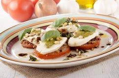 Breaded tomato slices with mozzarella Stock Images