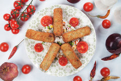 Breaded veggie sticks Stock Photo