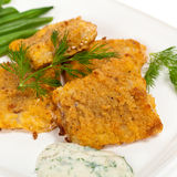 Breaded White Fish Fillets Stock Photography