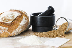 Breadmaking ingredients Royalty Free Stock Photography