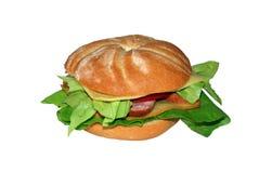 Breadrollsandwich getrennt Lizenzfreie Stockfotografie