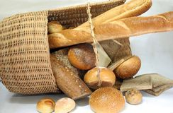Breads. Photograph of breads in the basket Royalty Free Stock Image
