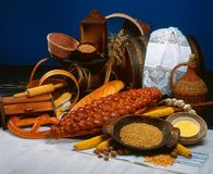 Breads. Assorted composition of natural and ethnic breads stock photos