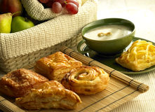 Breads. Assorted kinds of Breads and fruits stock images