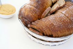 Breads. Detail of various breads in basket Stock Images
