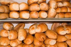 Breads. A lot of breads at the market bakery Royalty Free Stock Images